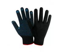 Перчатки трикотажные х/б 10 кл. ПВХ черные