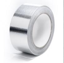 Скотч алюминиевый 50мкм х50мм -50м   с подложкой.